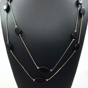 Jewelry - Extra Long Gold Plate Necklace Black Glass Beads